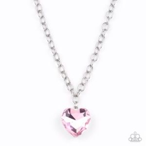 Pink heart pendant on silver chain. Paparazzi